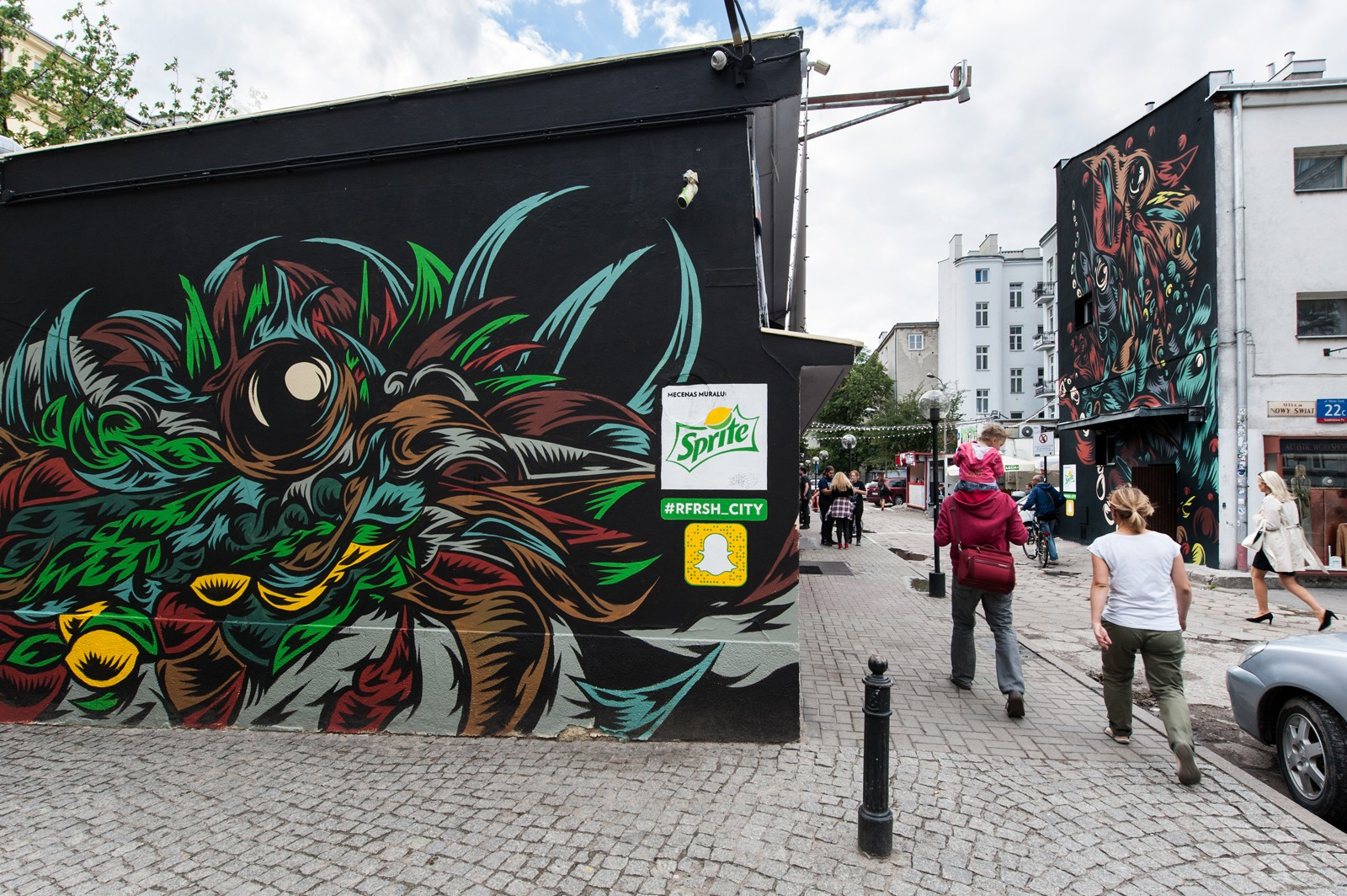Advertising mural for Sprite by Swanski at 22 Nowy Swiat street | #RFRSH_CITY | Portfolio