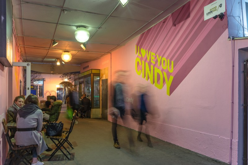 Advertising mural in tunnel at pavilons on nowy swiat | I love You Cindy | Portfolio