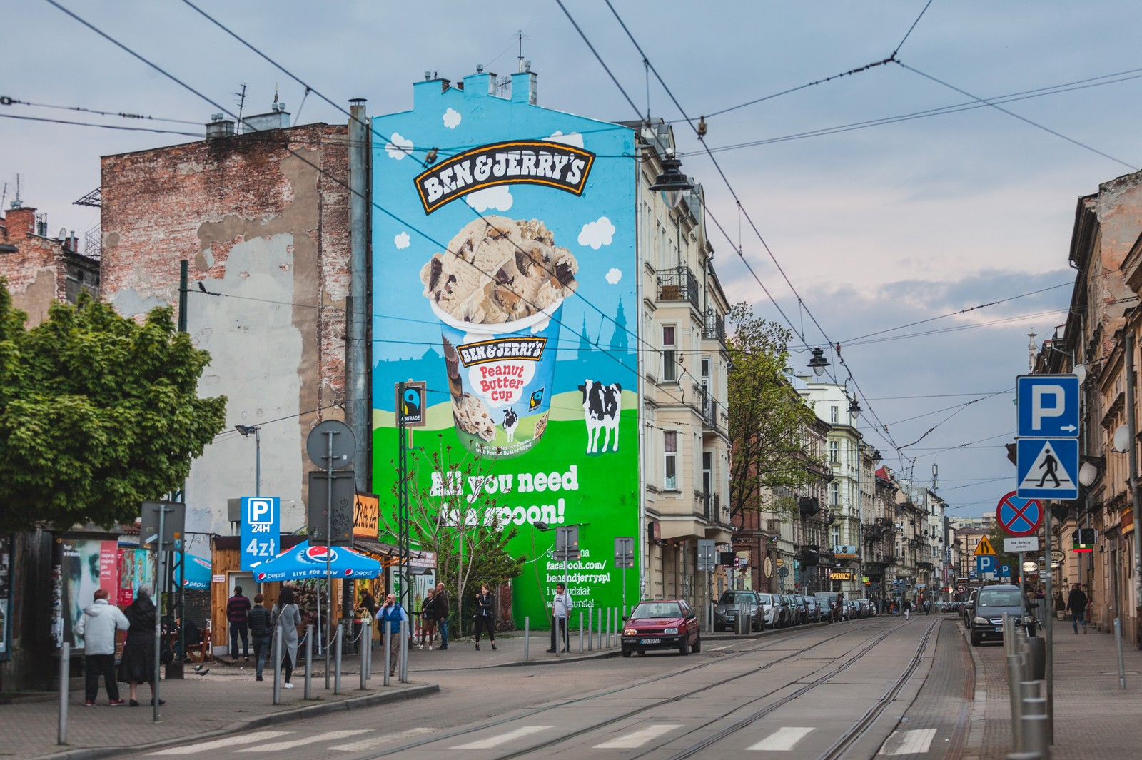 Advertising mural painted for Ben&Jerry's on Karmelicka street in Cracow | Ben & Jerry's | Portfolio