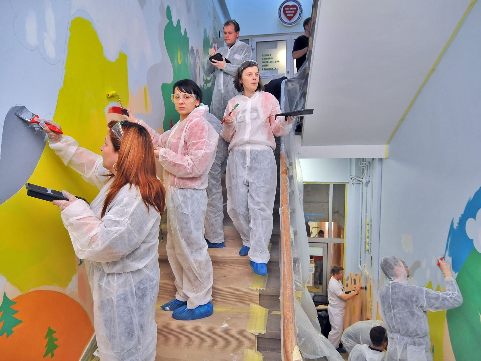 Charity event Dulux Lets Colour - Painting on the hall and stairway wall in Mother and Child Institute | Let's Colour | Portfolio