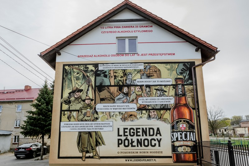Artistic mural painted for Specjal beer brand in Starogard Gdanski | Specjal - Legenda Północy | Portfolio