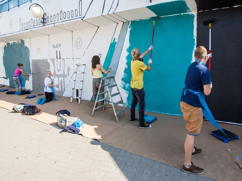 Painting event Dulux Lets Colour - Warsaw Centrum subway station | Let's Colour | Portfolio
