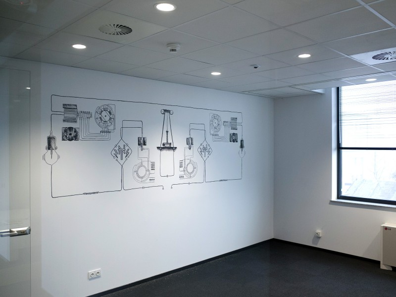 Nikola Tesla graphics on the wall - Fortum headquarters in Wroclaw | Headquarters | Portfolio