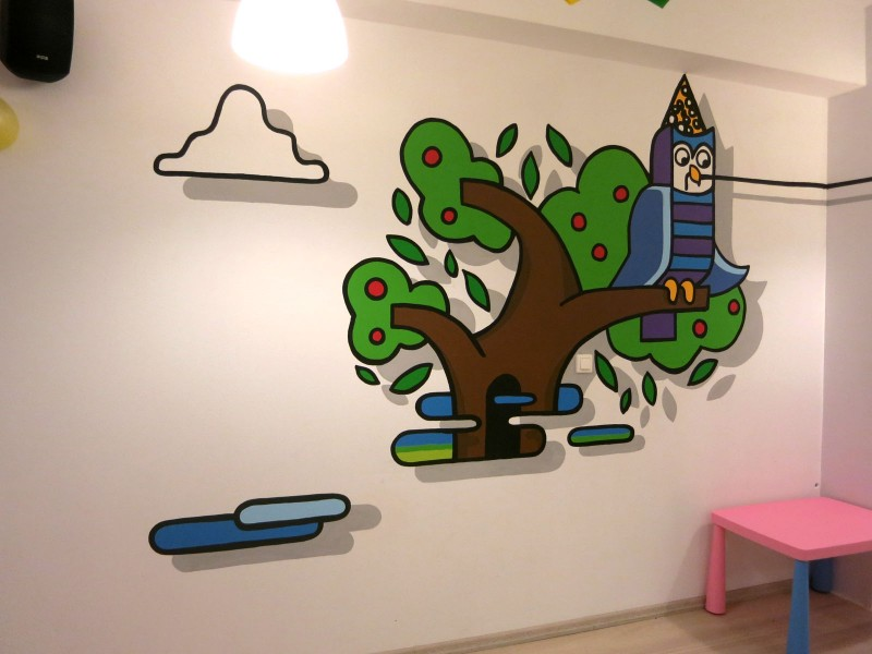 City Zoo illustrations painted in children's playroom walls - Stara Milosna | Playroom | Portfolio