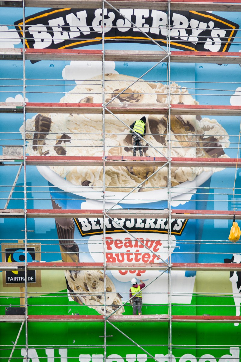 Ben&Jerry's Peanut butter cup ice cream painted on a mural next to Metro Politechnika station in Warsaw | Ben & Jerry's | Portfolio