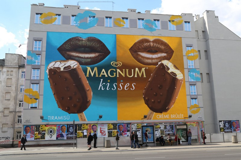 Magnum kisses Polna street in Warsaw advertising mural | Magnum Kisses | Portfolio