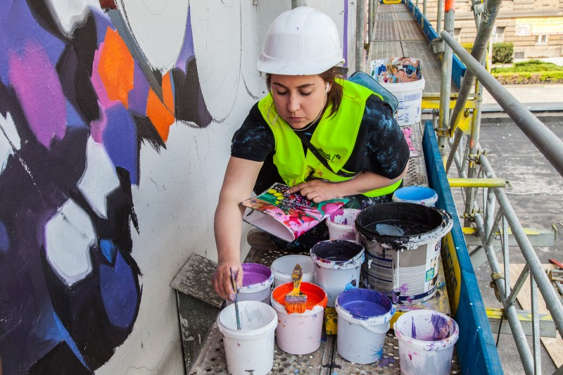 Artist at work mural painting for Costa Coffee brand | Costa Coffee's 1st Birthday | Portfolio