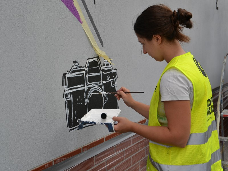 Painting on District Department wall in Trzebnica | Community mural | Portfolio