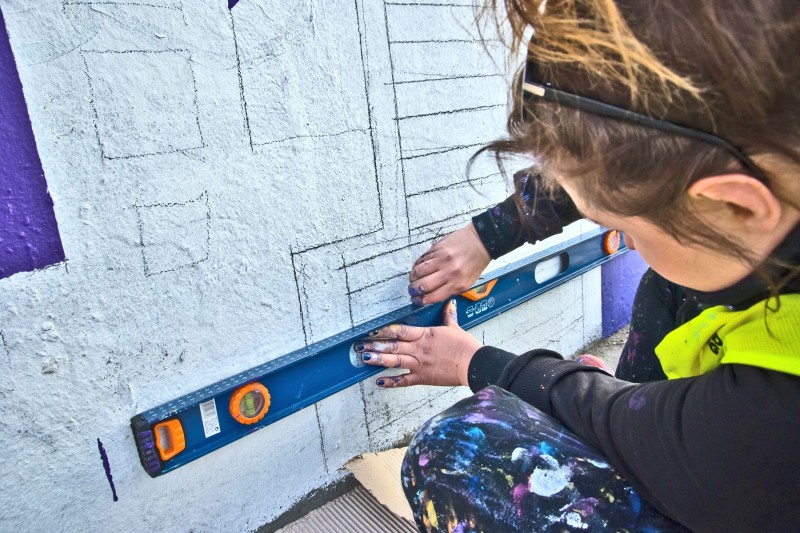 Painting wall square at Centrum subway station in Warsaw | Link passions and change the city | Portfolio