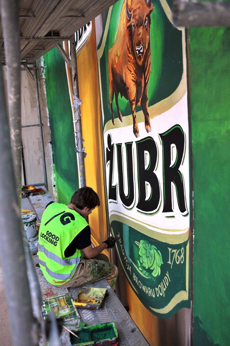 Painting wall near Bracka street in Warsaw Zubr beer | Every two Zubr are better than one | Portfolio