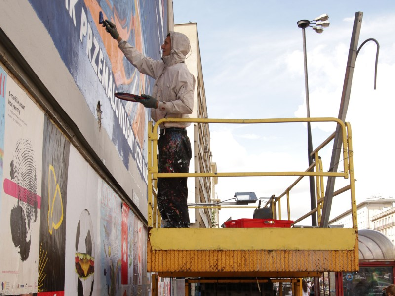 Gillette advertising mural - Lewy shaves - Warsaw Polna 40 street | Lewy shaves | Portfolio