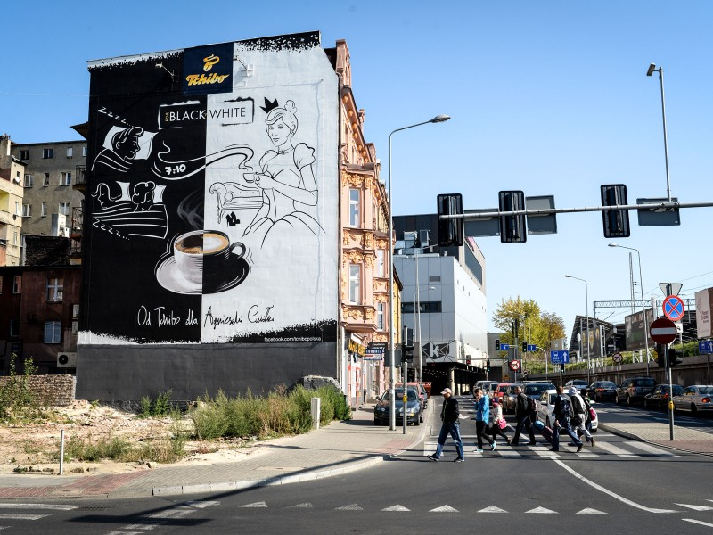 Mural advertising Tchibo in Katowice Black & White | Black & White | Portfolio