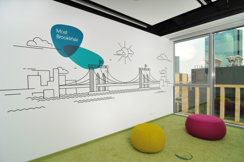 Painted bridge on the Provident Polska headquarters wall in Warsaw | Headquarters and Call Center | Portfolio
