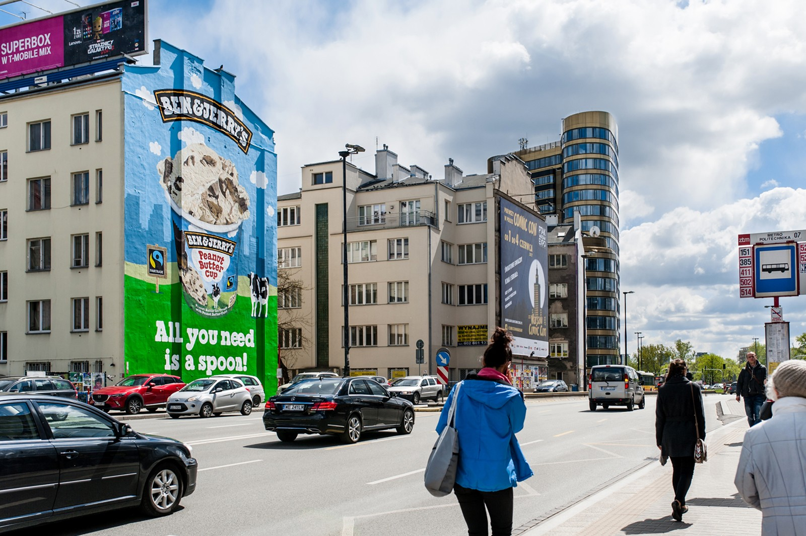 Mural commissioned by Ben&Jerry's on Jaworzynska street by Metro Politechnika station in Warsaw | Ben & Jerry's | Portfolio