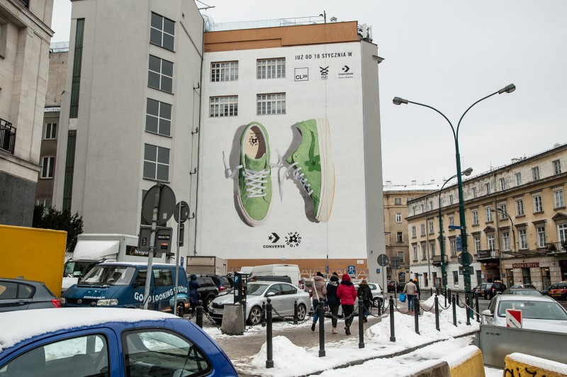 6. mural for converse le fleur with painted sneakers converse in green on bracka street | GOLF le FLEUR* x CONVERSE | Portfolio