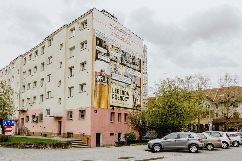 Mural painted in Gizycko for Specjal brand in Northern Legends advertising campaign | Specjal - Legenda Północy | Portfolio