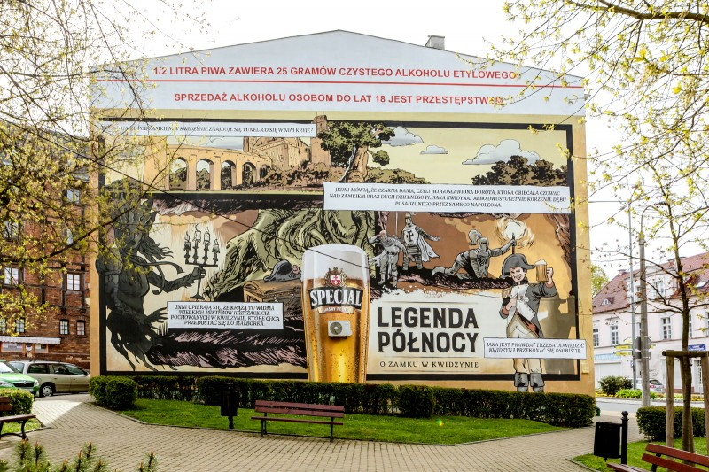 Mural painted in Kwidzyn for Specjal beer brand in a Northern Legends advertising campaign | Specjal - Legenda Północy | Portfolio