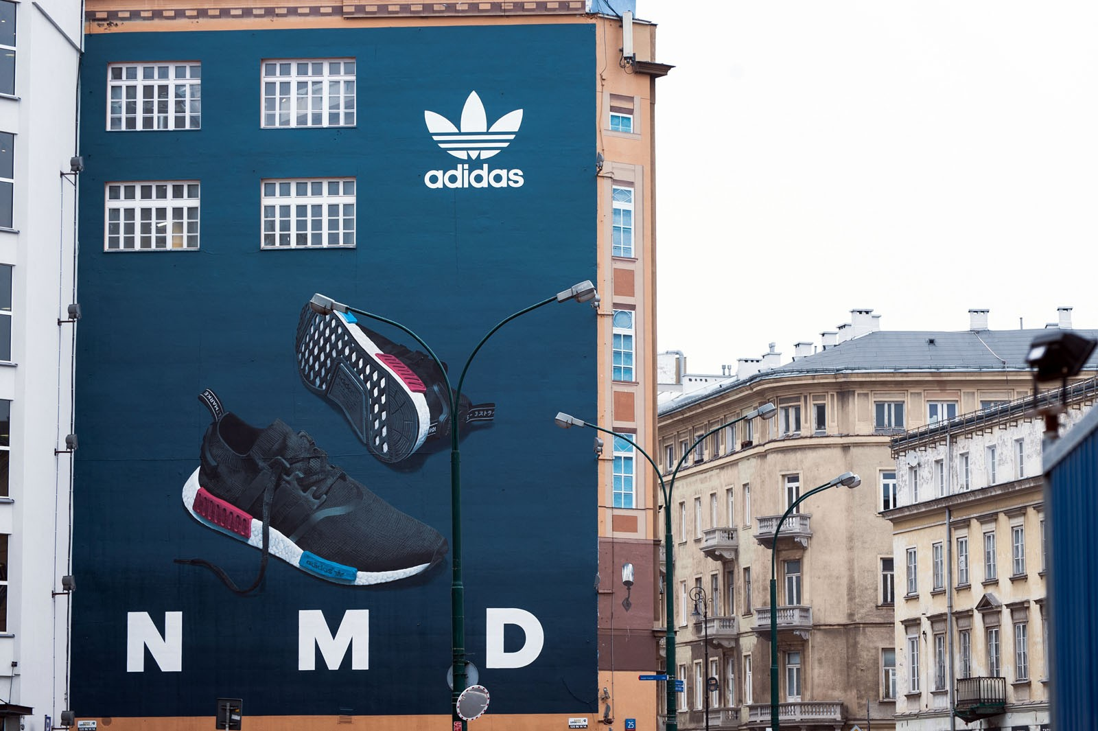 Commercial mural for Adidas brand in Warsaw Bracka Street Polish pre-premiere NMD sneakers | Polish premiere of NMD adidas Originals | Portfolio