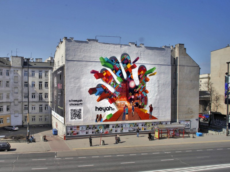 Freeyah heyah advertising mural - Warsaw Politechnika subway station | Freeyah | Portfolio