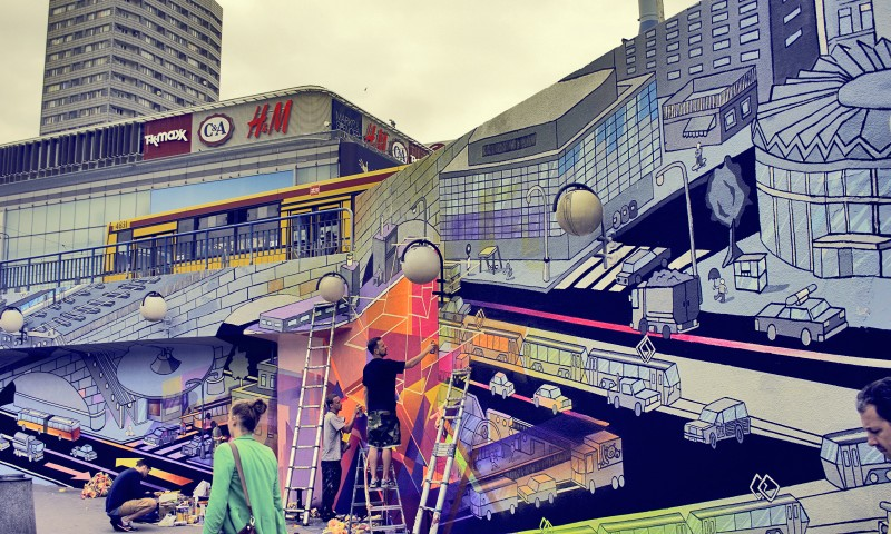Advertising mural in Warsaw square at Centrum subway station | Long live color! | Portfolio
