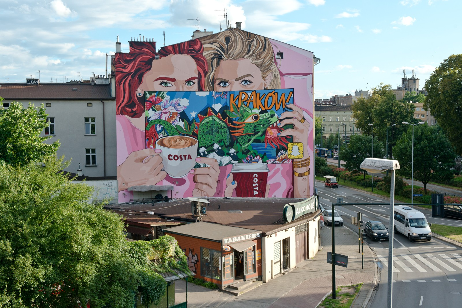 Mural in Cracow located on Dietla street project by Olka Osadzinska hand painted by artists for Costa Coffee brand | Costa Coffee's 1st Birthday | Portfolio