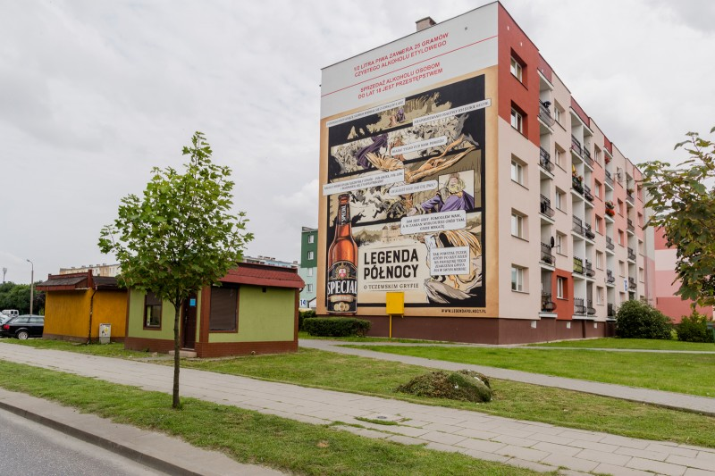 Mural in Tczew as part of a hand painted advertising campaign for Specjal beer brand | Specjal - Legenda Północy | Portfolio
