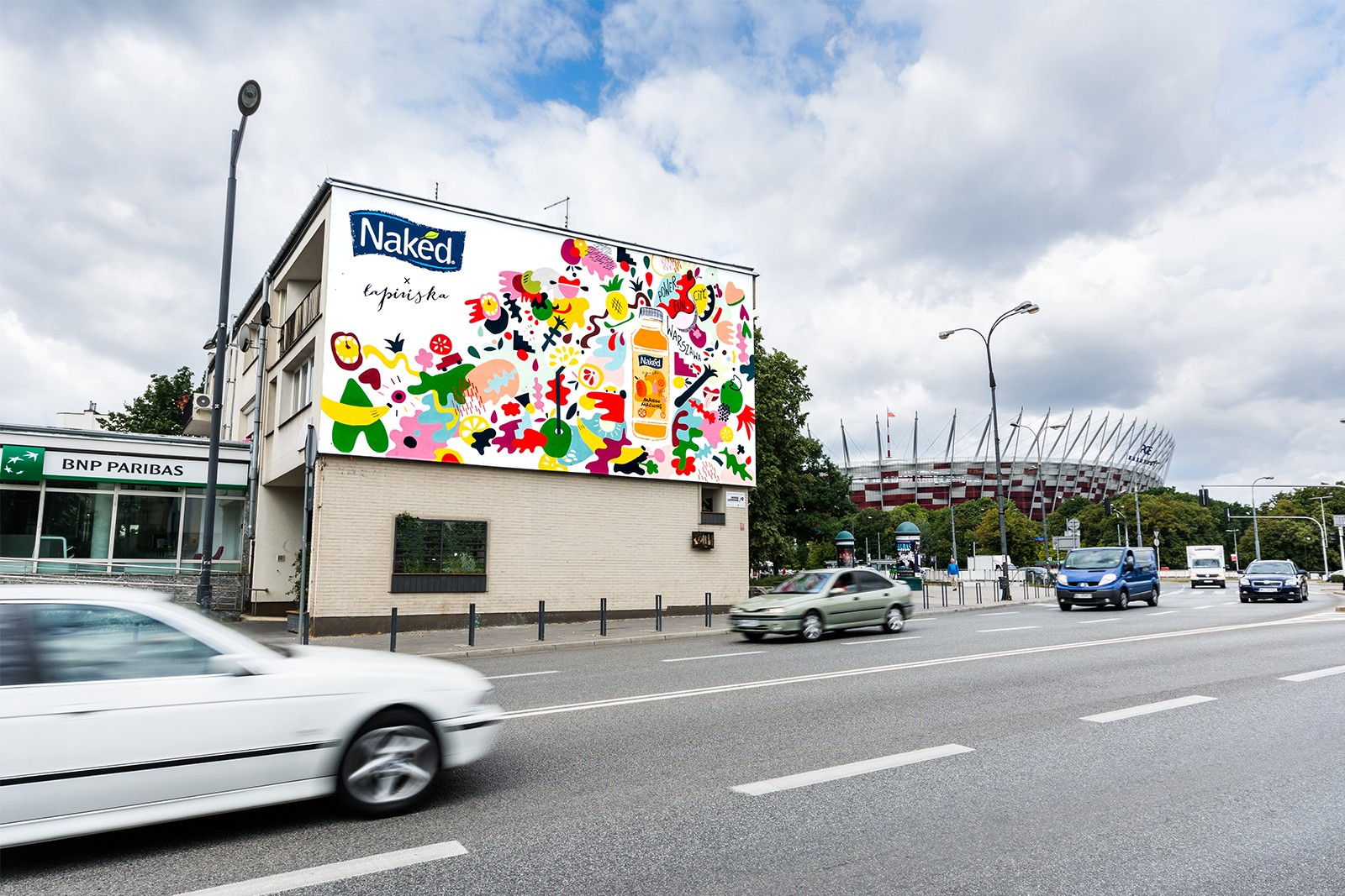 Naked's advertising mural on Francuska street in Warsaw | #PowerFullCity | Portfolio