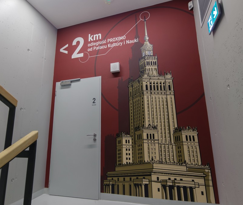 The distance from Proximo office building to the Palace of Culture and Science in Warsaw | PROXIMO | Portfolio
