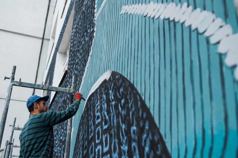 Painting advertising murals in warsaw | Adidas Parley | Portfolio