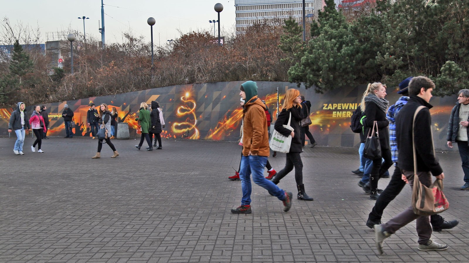 Square at centrum subway station in Warsaw mural on the wall | We provide energy | Portfolio