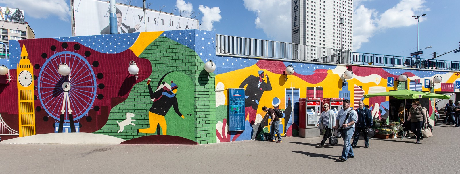 Wall painting designed by Olka Osadzinska in Warsaw City Centre next to the Metro Centrum station | Costa Coffee's 1st Birthday | Portfolio