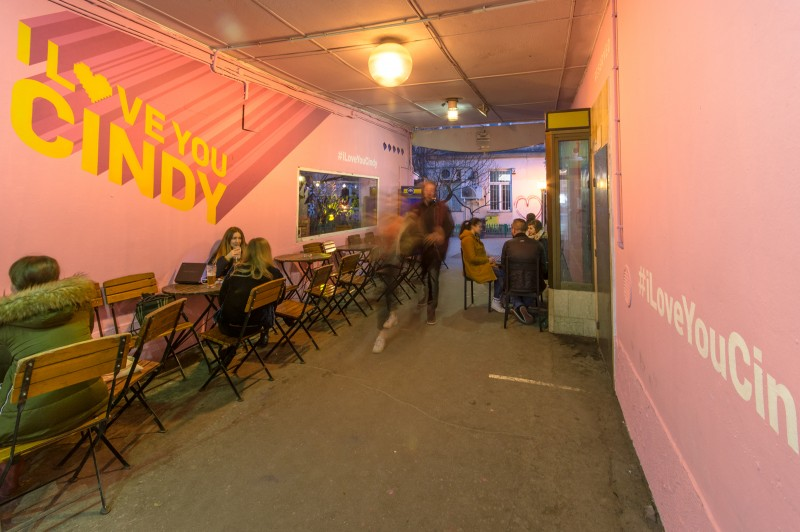 Pink mural with advertisment reserved company at pavilons | I love You Cindy | Portfolio