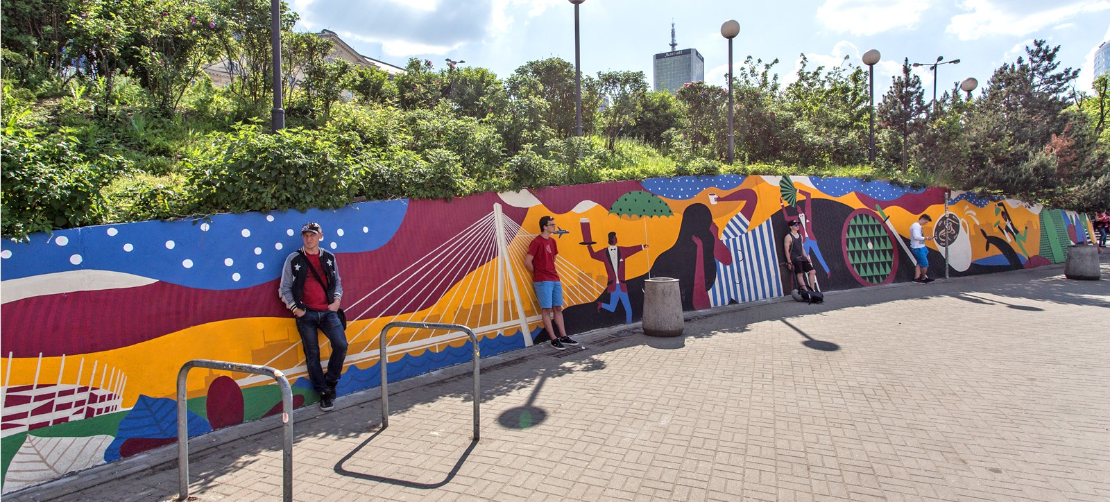 A Square next to the Metro Centrum station in Warsaw with a mural painted by artists for the Costa Coffee advertising campaign | Costa Coffee's 1st Birthday | Portfolio