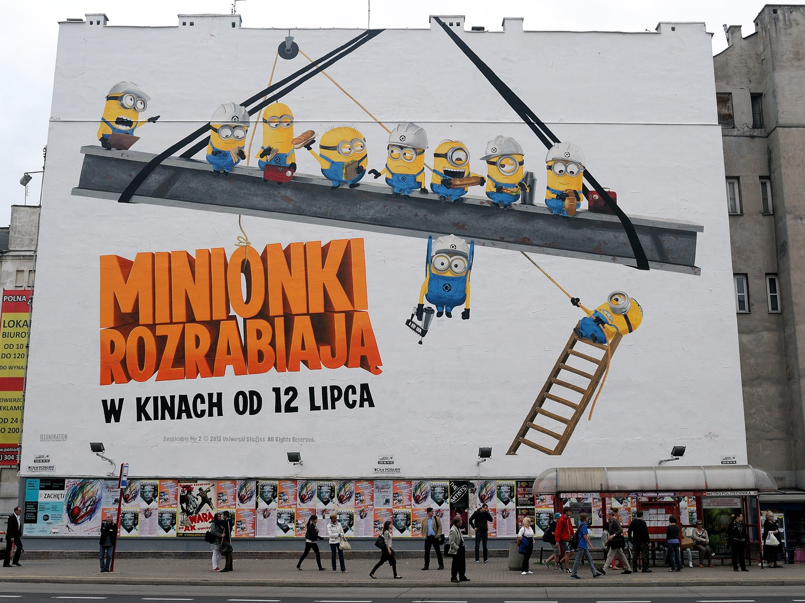 Large format Despicable Me 2 mural on the wall Polna street Politechnika subway station | The Smurfs 2 & Despicable Me 2 | Portfolio