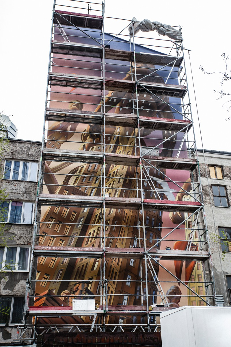 A François Schuiten project painted on a mural for Ghelamco's Warsaw Spire | Warsaw Spire | Portfolio