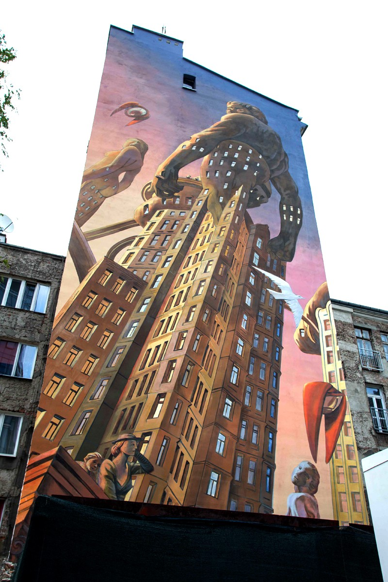 A project by a Belgian artist - François Schuiten painted on a mural on Plac Europejski 1 in Warsaw | Warsaw Spire | Portfolio
