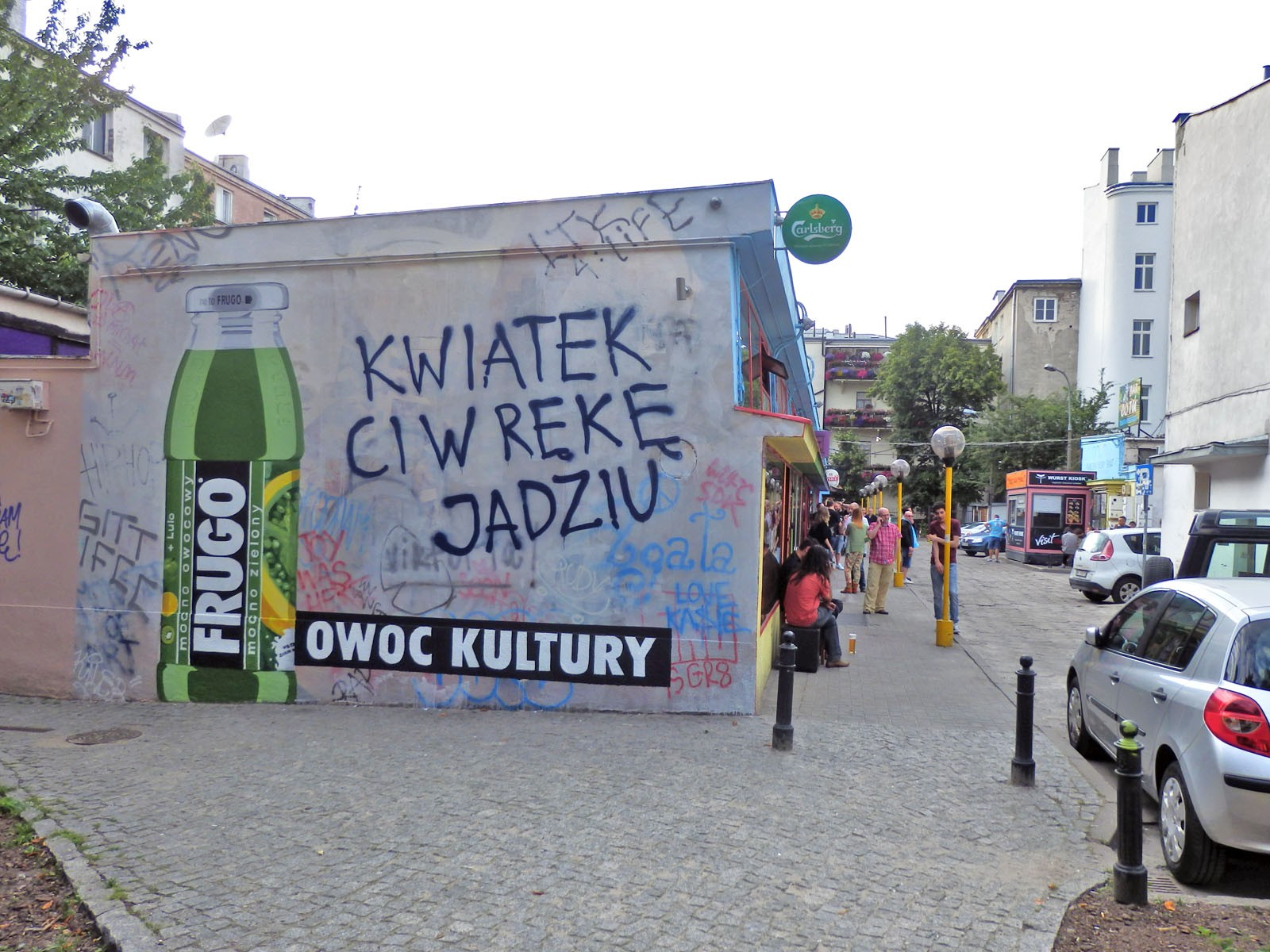 Handpainted Frugo advertisement Friut of culture in Warsaw pavilions Nowy Swiat street | Fruit of culture | Portfolio