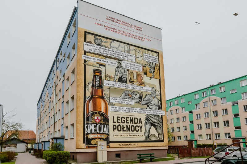Hand painted advertisement of Specjal beer in Pisz | Specjal - Legenda Północy | Portfolio