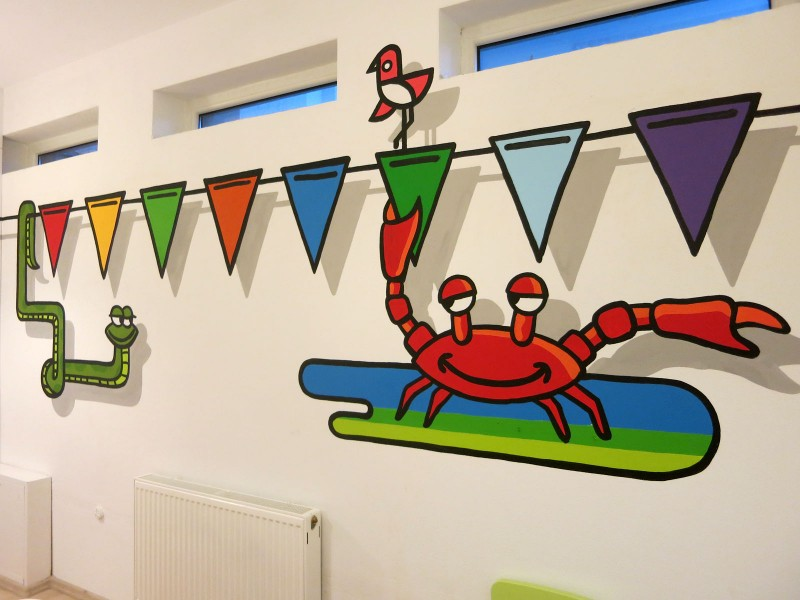 City Zoo handpainted graphics on the children's playroom walls - Stara Milosna | Playroom | Portfolio