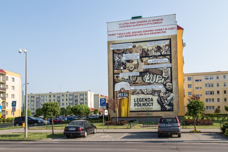Hand painted mural in Kaszuby for a Specjal beer brand advertising campaign | Specjal - Legenda Północy | Portfolio