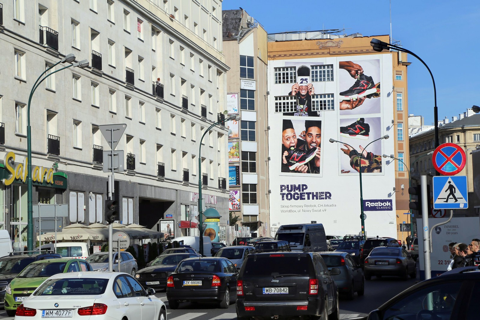 Reebok Warsaw Bracka street Pump Together marketing campaign on wall | Reebok Pump 25th anniversary | Portfolio