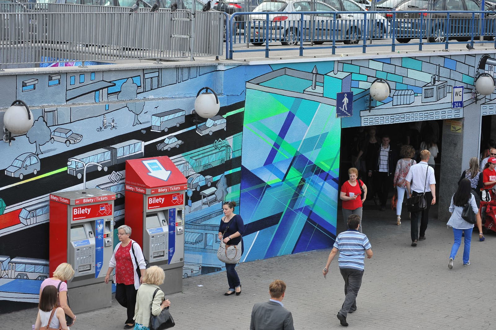 Samsung Tab walls on square at Centrum subway station in Warsaw | Long live color! | Portfolio