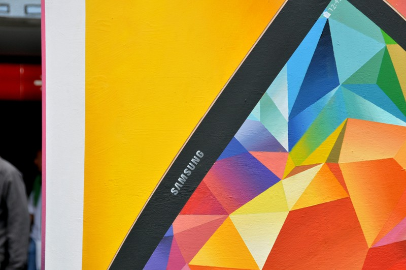 Samsung mural advertising square at Centrum subway station in Warsaw | Long live color! | Portfolio