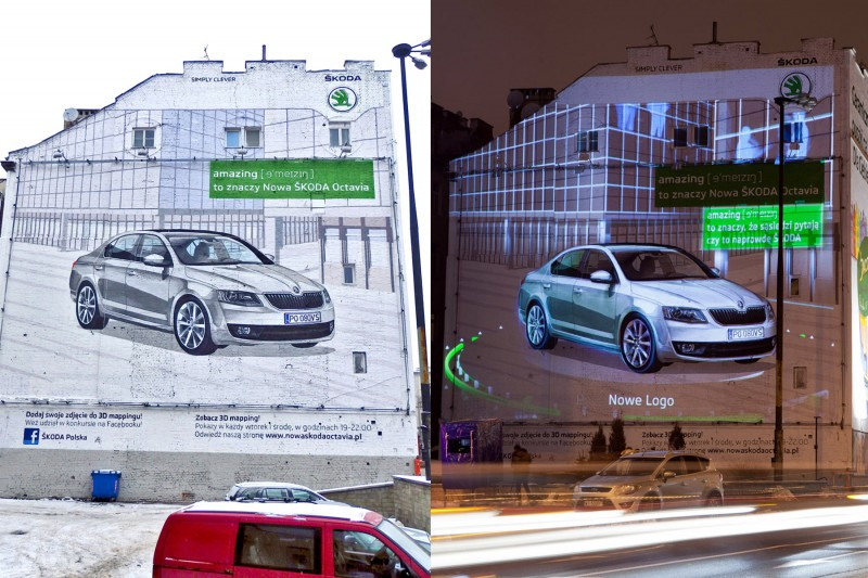 Skoda Octavia Amazing Warsaw Polna street Politechnika subway station 3D mapping mural | Advertising murals | Our offer