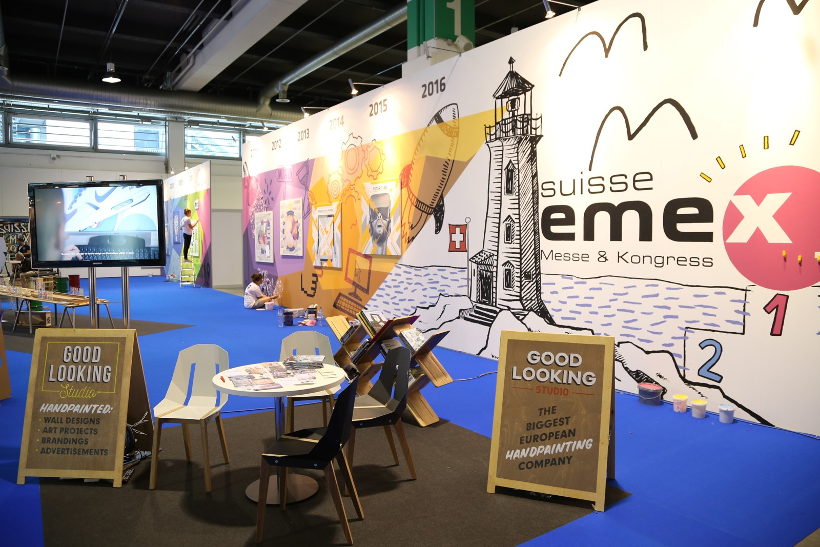 Der Stand von Good looking Studio, einer Firma für handgemalte Werbung in der Schweizer Fachmasse für Marketing, Kommunikation, Event und Promotion SuisseEMEX 2016 | SuisseEMEX | Backstage