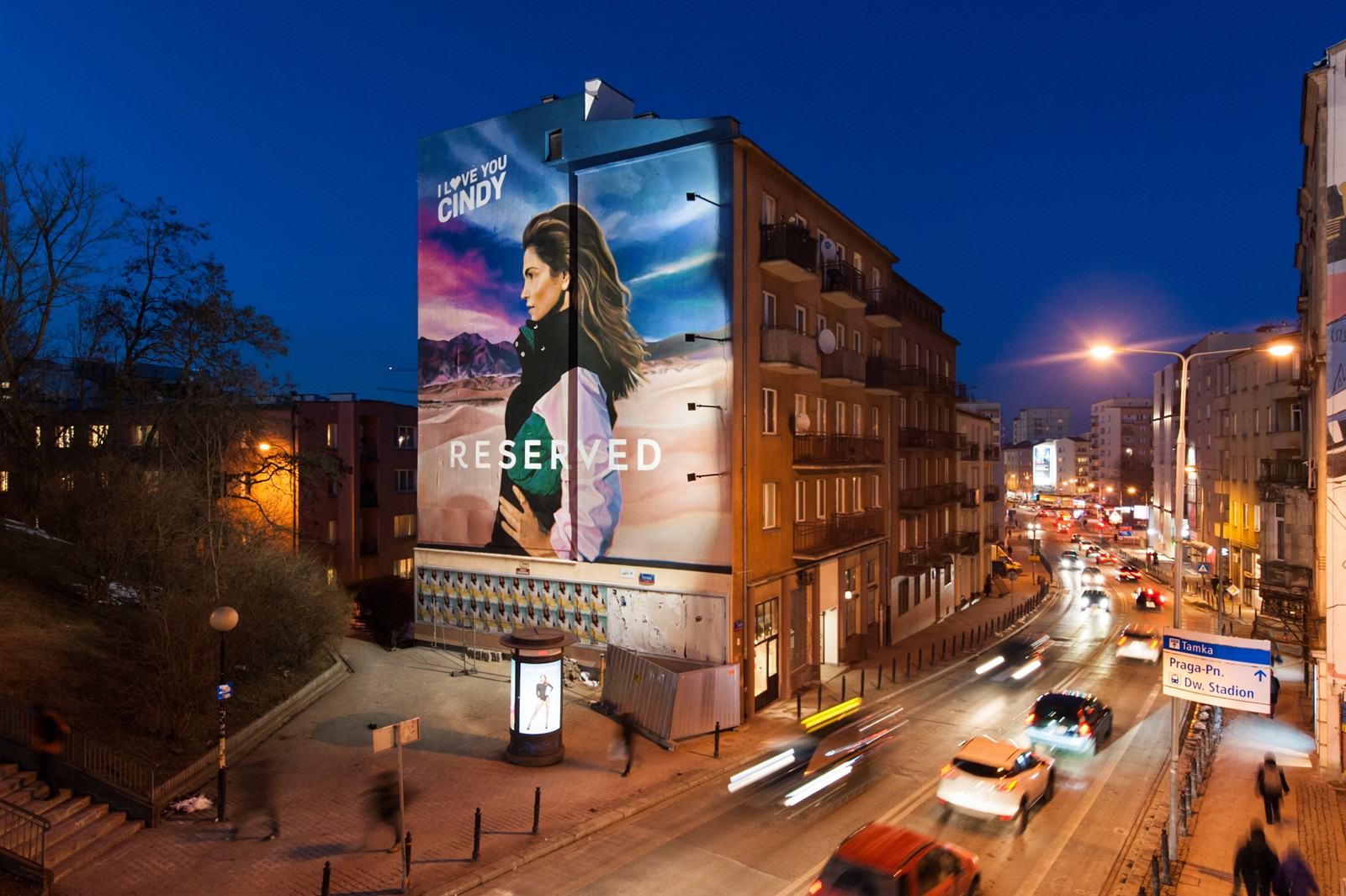 Tamka street on warsaw powisle advertising mural for reserved | I love You Cindy | Portfolio