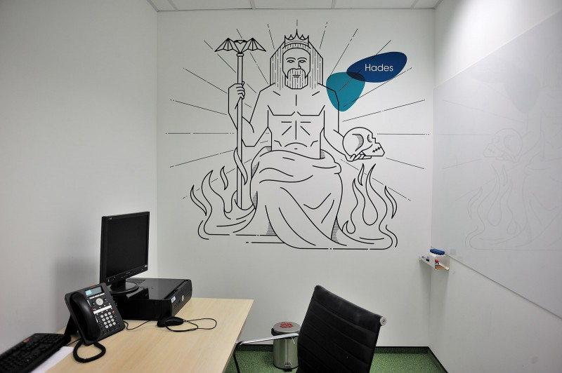 Wall design painted in call center Provident Polska in Warsaw | Headquarters and Call Center | Portfolio