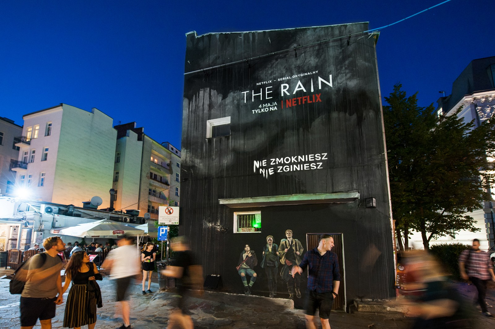Wall at pawilony nowy swiat Warsaw with dark graphic series the rain | The Rain  | Portfolio