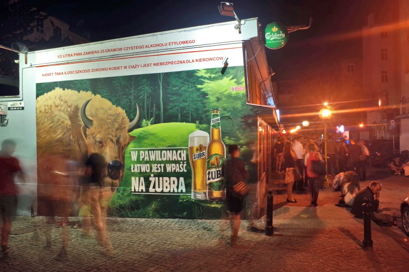 Warsaw pavilions Nowy Swiat street Zubr beer mural It's ease to step in for a Zubr | Every two Zubr are better than one | Portfolio