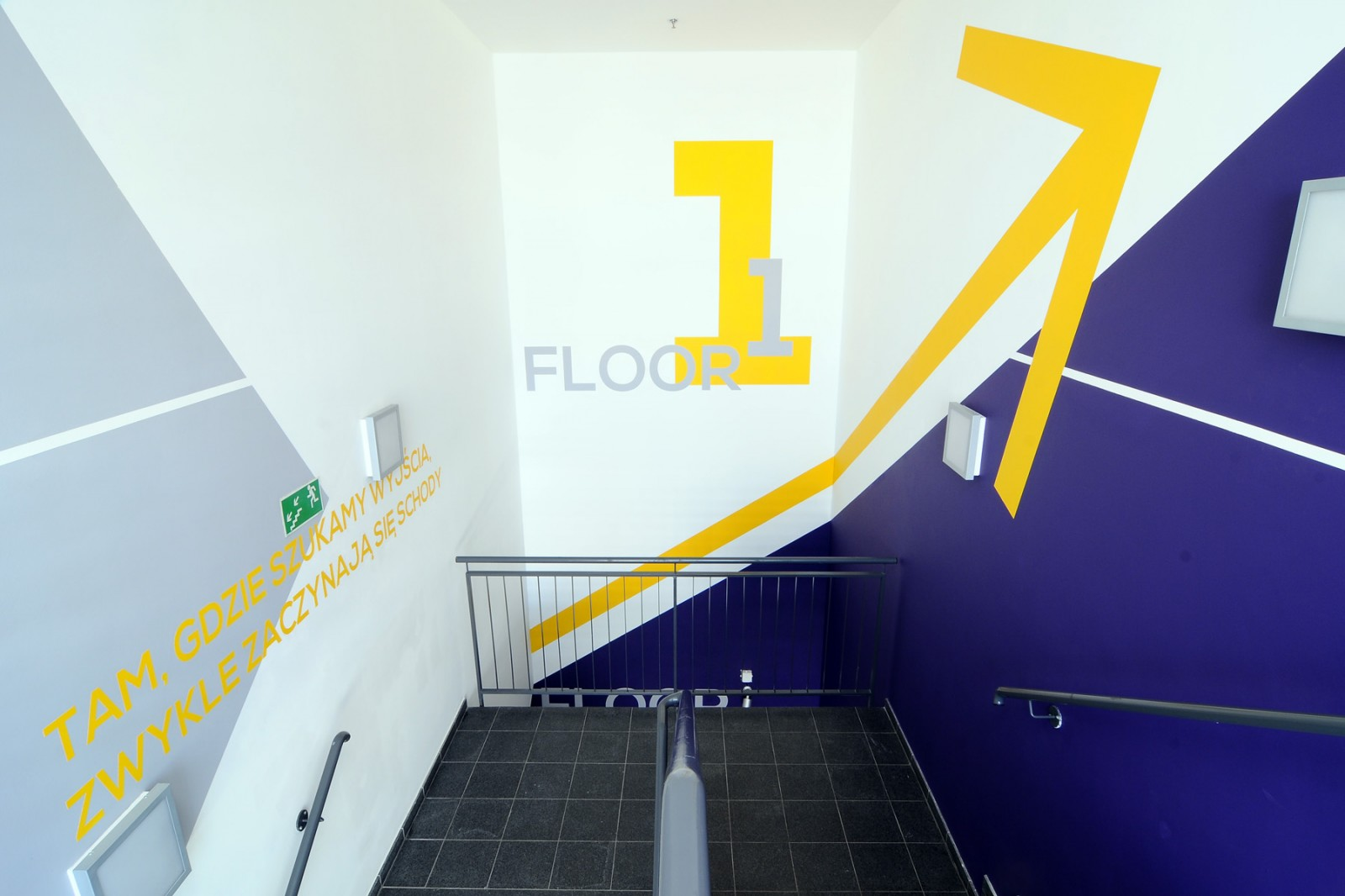 Stairway in Play warehouse mural | Warehouse interior | Portfolio